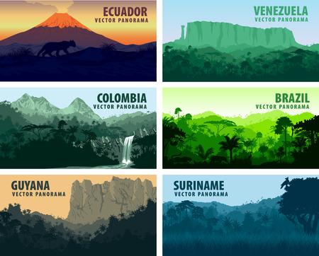 Illustration pour vector set of panorams countries South America - Venezuela, Brazil, Suriname, Ecuador, Colombia, Guyana - image libre de droit