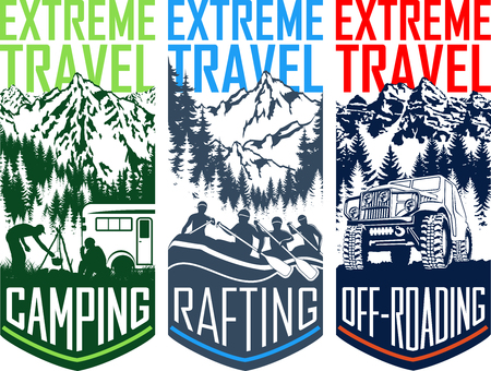 Illustration pour Set of vector travel flayer illustration - camping, 4x4 off-roading and whitewater rafting - image libre de droit