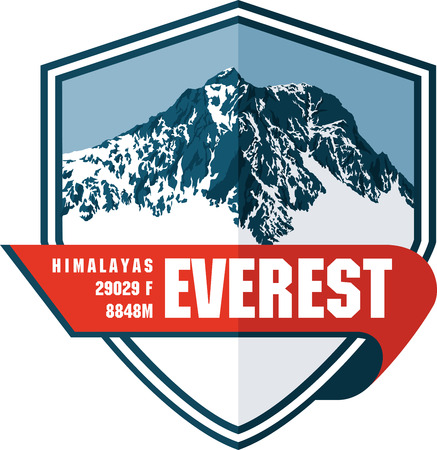 Illustration pour Vector Everest mountain logo. Emblem with highest peack in world. Mountaineering label illustration. - image libre de droit