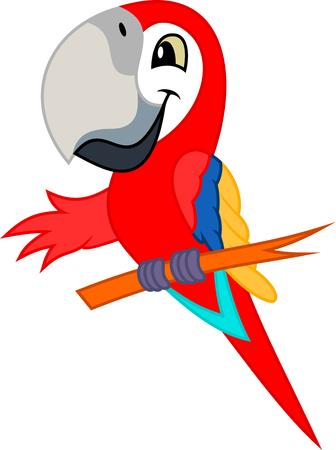 Illustration pour Cute Vector cartoon red scarlet Macaw ara parrot - image libre de droit