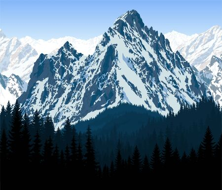 Illustration pour vector mountain in woodland on the way to Everest Base Camp - image libre de droit