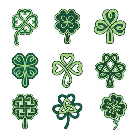 Illustration pour Celtic clover patterns. Holiday symbols on a white background. - image libre de droit