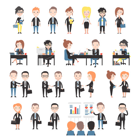 Group of business and office people. Set office workers.