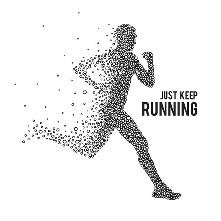 Illustration for Running Man. The silhouette on a white background. - Royalty Free Image