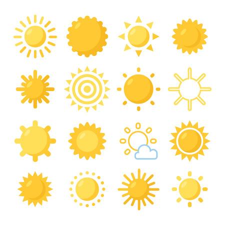 Ilustración de Orange Sun symbols set. Various painted sun. - Imagen libre de derechos