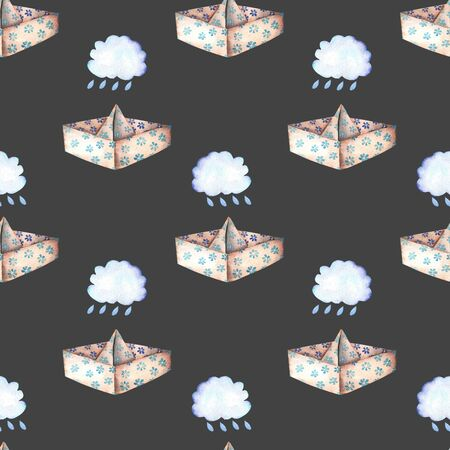 Seamless pattern with paper boats and rain clouds, hand drawn in watercolor on a dark background