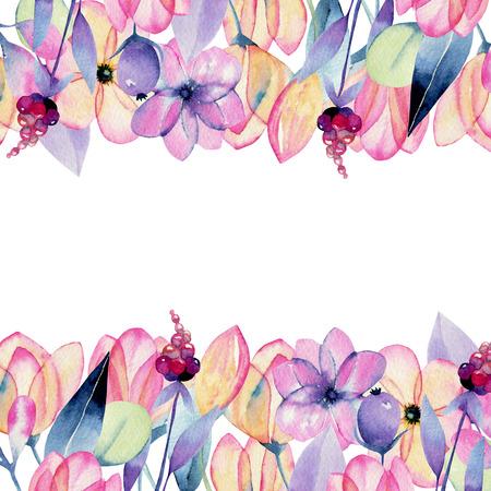 Photo pour Watercolor flowers and flowers on a white - image libre de droit