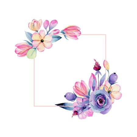 Photo pour Watercolor pastel flowers on white - image libre de droit