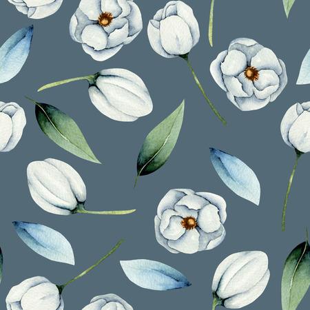 Foto de Watercolor white anemone flowers - Imagen libre de derechos