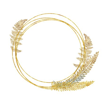 Photo pour Golden round frame with hand drawn golden tropical fern branches and leaves on white - image libre de droit