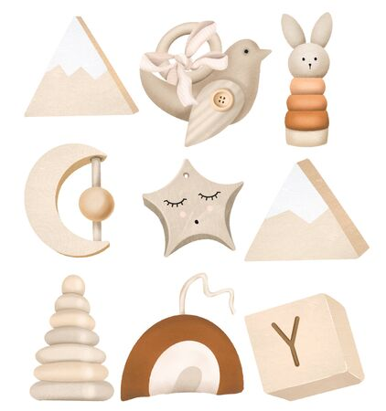 Photo pour Set of wooden toys for kids, isolated elements on a white - image libre de droit