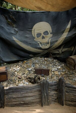 Stolen Pirate Treasure with Jolly Roger Flag