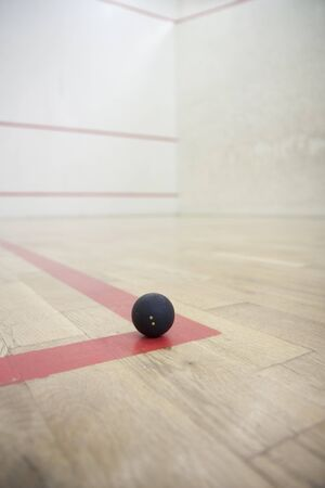 Empty squash court ready to play
