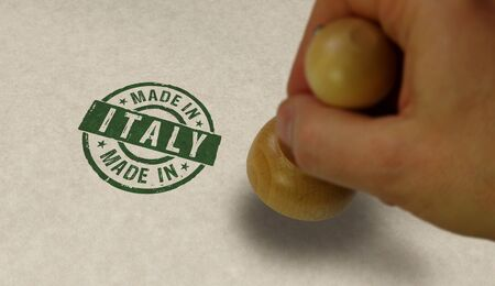Photo pour Made in Italy stamp and stamping hand. Factory, manufacturing and production country concept. - image libre de droit