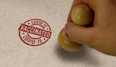 Foto de Vaccinated covid-19 stamp and stamping hand. Virus epidemic, vaccine against COVID-19, medicine, health and disease resistance concept. - Imagen libre de derechos