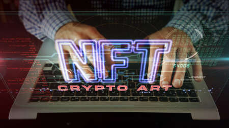Photo pour NFT crypto art sign, non fungible token of unique artist collectibles, blockchain and digital artwork selling technology symbol. Man typing on keyboard. Futuristic abstract concept 3d rendering. - image libre de droit