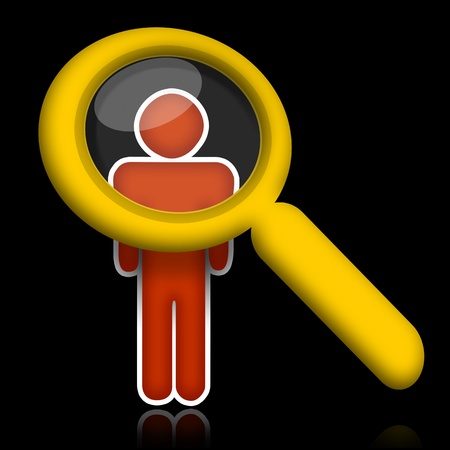 Researching people, abstract person under magnifier glass over black background