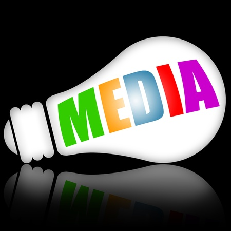 Photo for Media concept illustration with electric lamp vs black background - Royalty Free Image