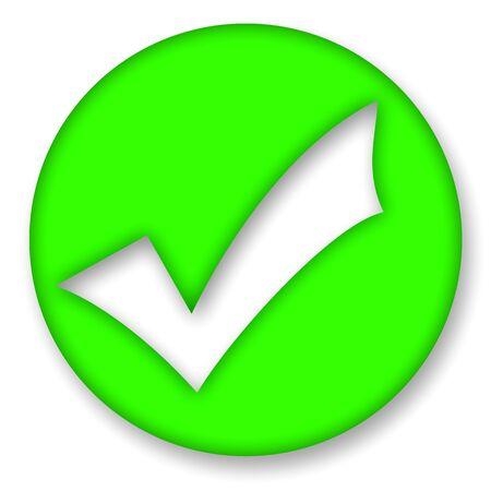 Green check mark sign illustration over white background