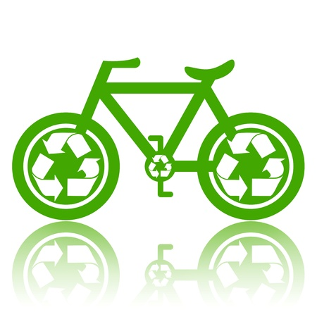 Bicycle with recycle symbol on wheels environmentally friendly transport concept illustration isolated over white background
