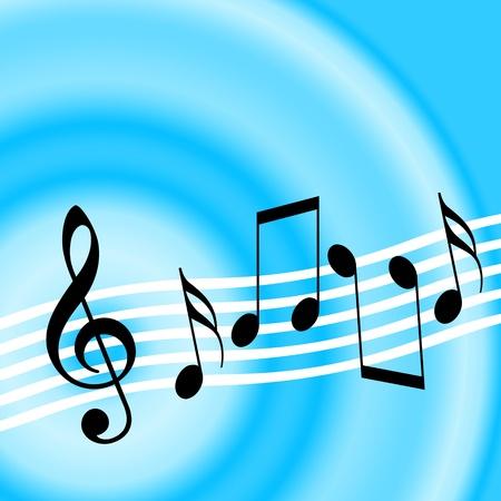 Photo pour Blue music background with treble clef and random musical notes - image libre de droit