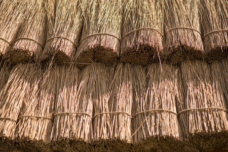 Close up straw background. Texture of thatch roof.