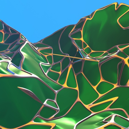 Photo pour Abstract 3d rendering of chaotic green landscape structure with golden frame. Futuristic shape in empty space - image libre de droit