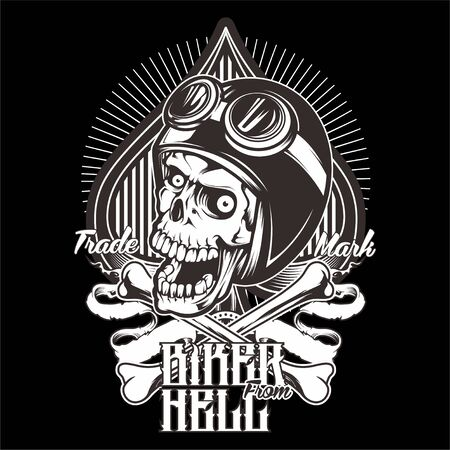 Illustration for skull wearing a helmet and a goggle cross.vector hand drawing.Shirt designs, biker, disk jockey, gentleman, barber and many others.isolated and easy to edit. Vector Illustration - Vector - Royalty Free Image