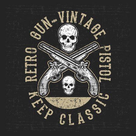 Illustration pour grunge style vintage pistol and skull hand drawing vector - image libre de droit