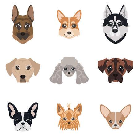 Illustration pour Collection of dog faces. Set of different breeds. - image libre de droit