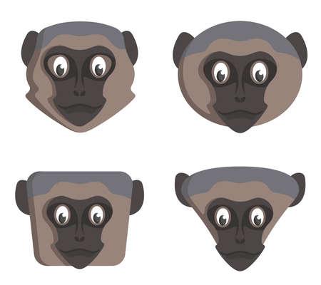 Illustration pour Set of cartoon vervet monkeys. Different shapes of animal heads. - image libre de droit