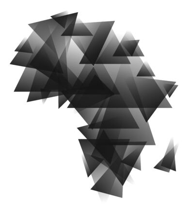 Abstract africa map created from grayscale triangles.