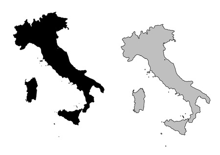 Italy map. Black and white. Mercator projection.