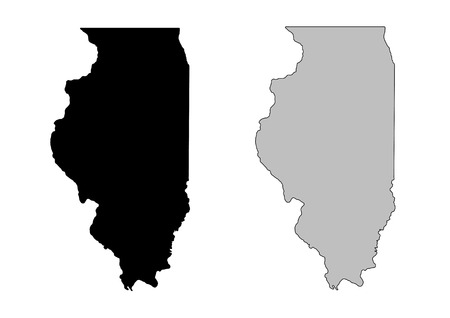 Illinois map. Black and white. Mercator projection.