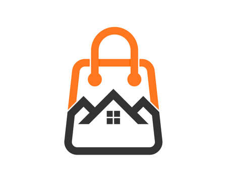 Combination shopping bag with house logo