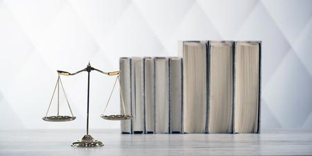 Photo pour Symbols of the law on a rustic desk - image libre de droit