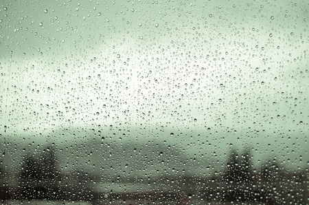 Rain drops on a windowの写真素材