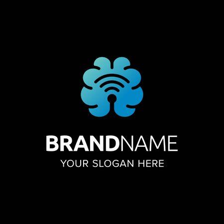 Illustration pour Brain neuro technology logo iconic. Brain network wifi signal. Branding for website, software, health, neuro, laboratory, mobile app, intelligence, etc. Isolated graphic designs inspiration - image libre de droit