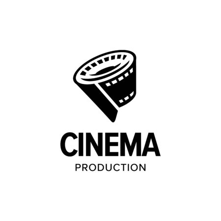 Illustration pour Film strip roll logo iconic. Branding for website, movie maker, movie production, videographer, video editor, production house, cinema, cinematography, etc. Isolated graphic designs inspiration - image libre de droit