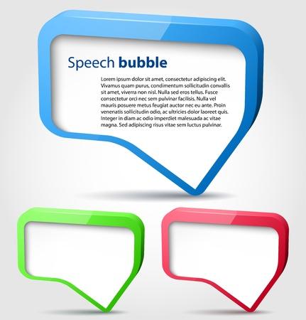 Illustration pour Colorful glossy 3d bubble speech  - image libre de droit