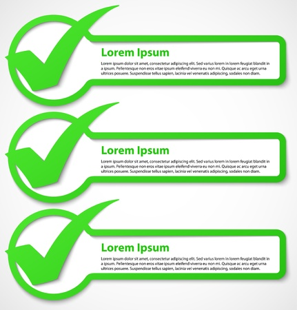 Green check mark banners or stickers  Vector illustration
