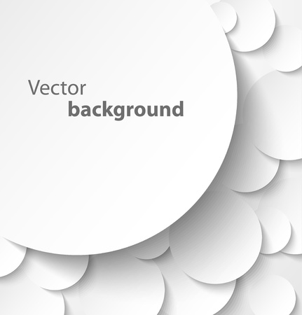 Paper banner on circle abstract background with drop shadows  Vector illustration