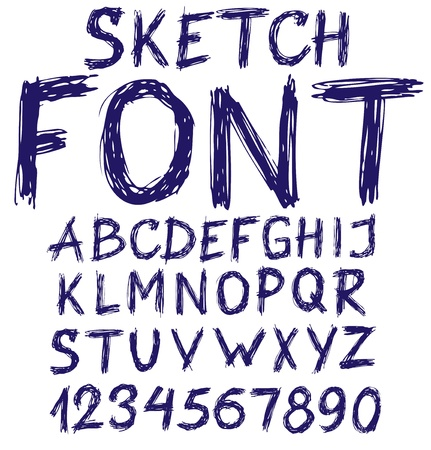 Handwritten blue sketch alphabet  Vector illustration