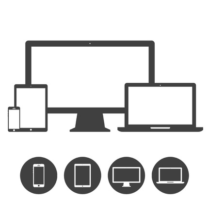 Set of display, laptop, tablet and mobile phones electronic device icons template  Vector illustration