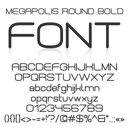 Trendy modern elegant bold font alphabet with upper case and lower case letters, numbers and symbols. Vector illustration
