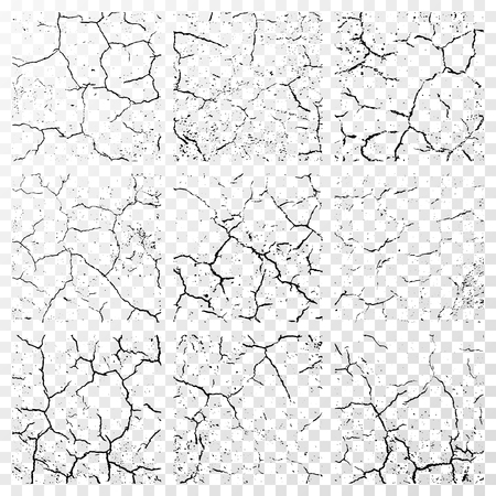 Set of realistic wall cracks isolated on white transparent background. illustration