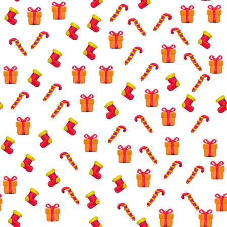 Handmade vector Plasticine seamless pattern for Christmas