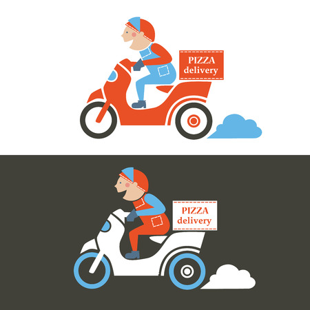 Illustration pour Pizza delivery guy on a scooter. Isolated vector illustration. - image libre de droit