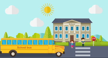 Foto de Kids go back to school. Bus, children and school facade composition. Vector illustration. - Imagen libre de derechos
