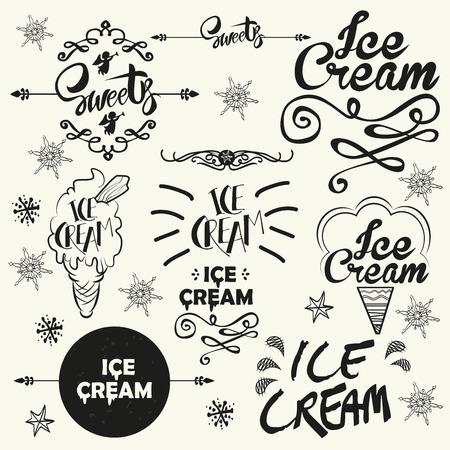 Set of vintage ice cream shop logo badges and labels. Typographics vector illustration.